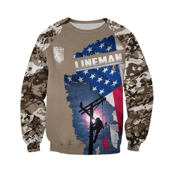 Camo lineman american flag full printing sweatshirt