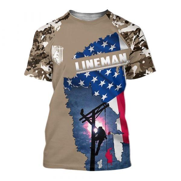 Camo lineman american flag full printing tshirt