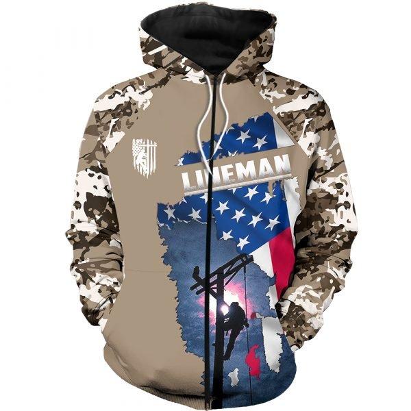 Camo lineman american flag full printing zip hoodie