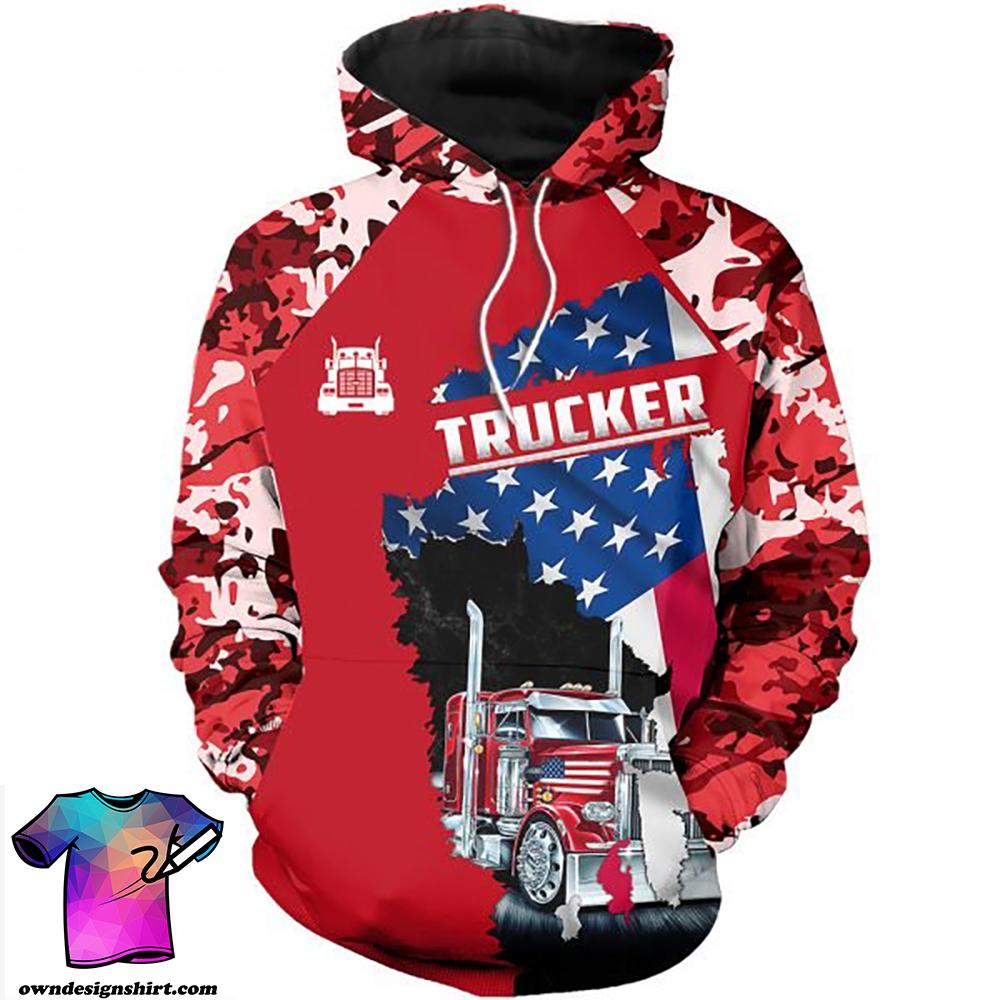 Camo trucker american flag full printing shirt