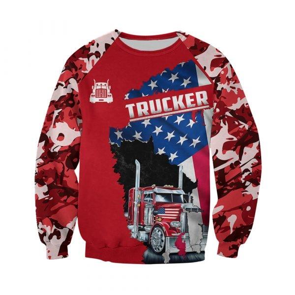 Camo trucker american flag full printing sweatshirt