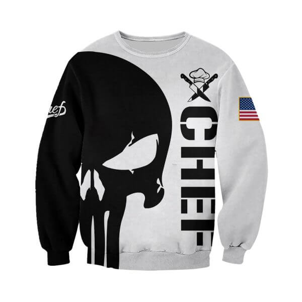Chef skull full printing sweatshirt