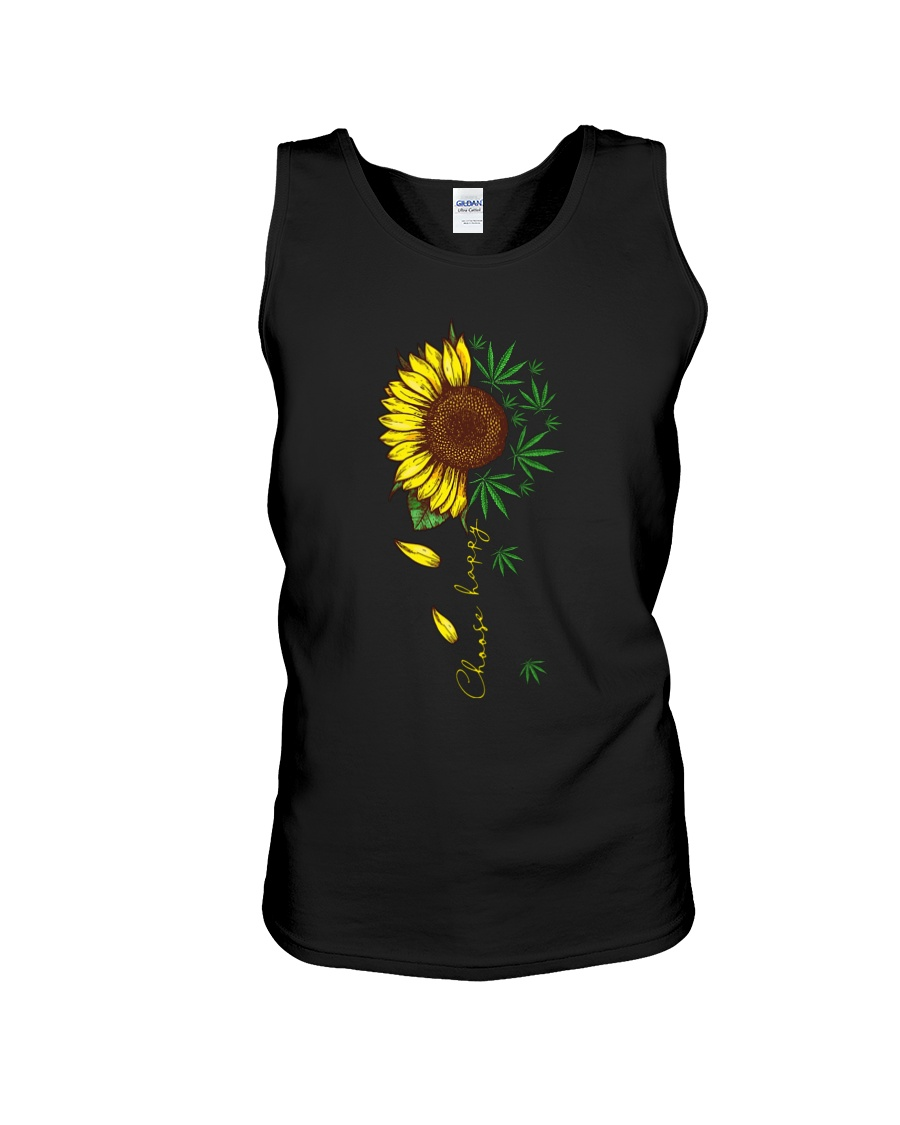 Choose happy sunflower and weed tank top