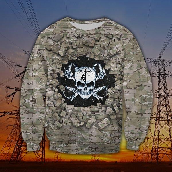 Death skull lineman full printing sweatshirt