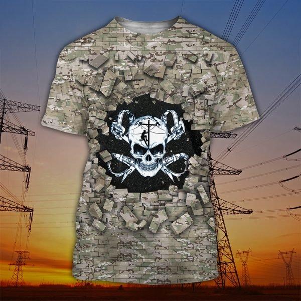 Death skull lineman full printing tshirt