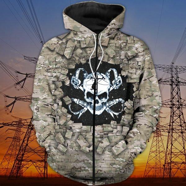 Death skull lineman full printing zip hoodie