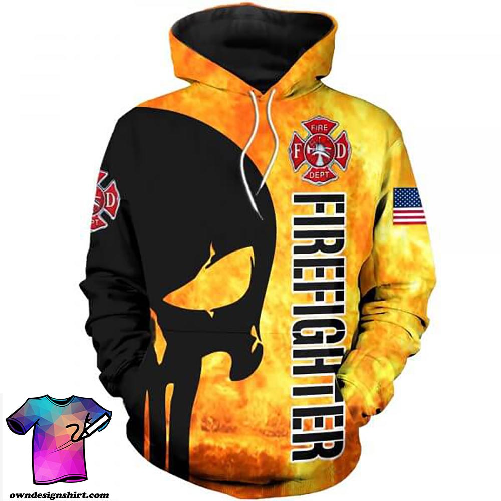 Firefighter skull full printing shirt