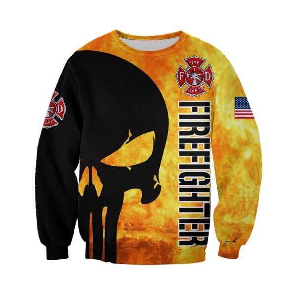 Firefighter skull full printing sweatshirt