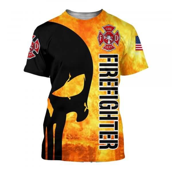 Firefighter skull full printing tshirt