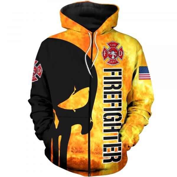 Firefighter skull full printing zip hoodie