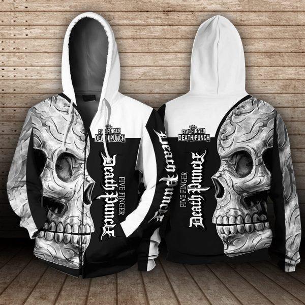 Five finger death punch sugar skull full printing zip hoodie