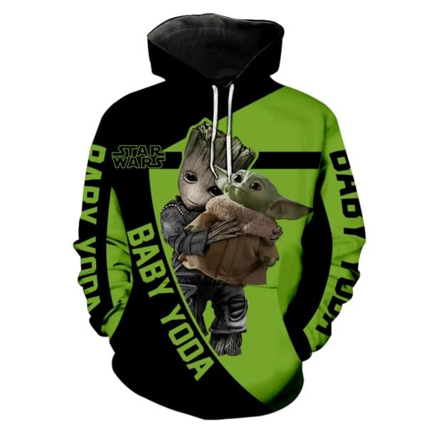 Groot hold baby yoda star wars full printing hoodie