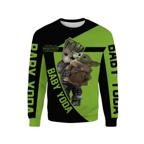 Groot hold baby yoda star wars full printing sweatshirt