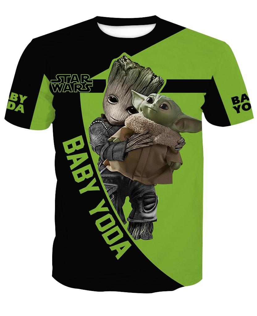 Groot hold baby yoda star wars full printing tshirt
