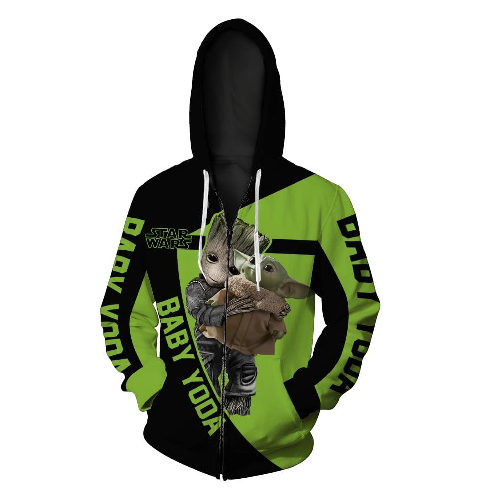Groot hold baby yoda star wars full printing zip hoodie