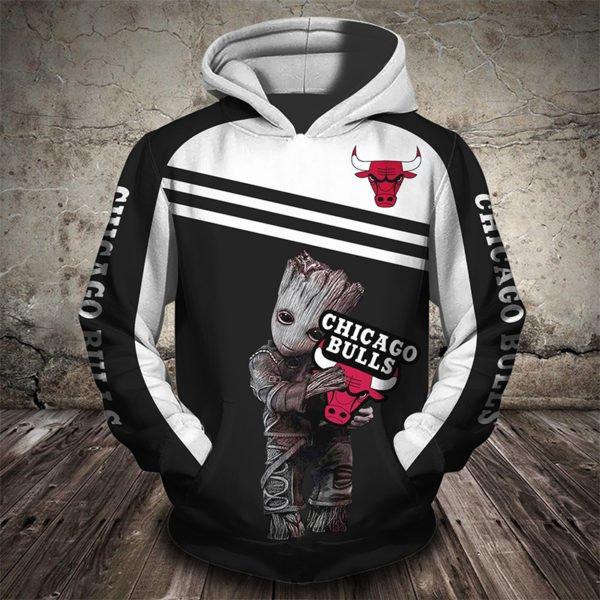Groot hold chicago bulls full printing hoodie 2