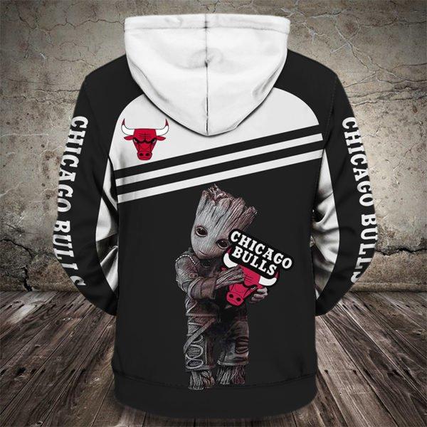 Groot hold chicago bulls full printing hoodie 3