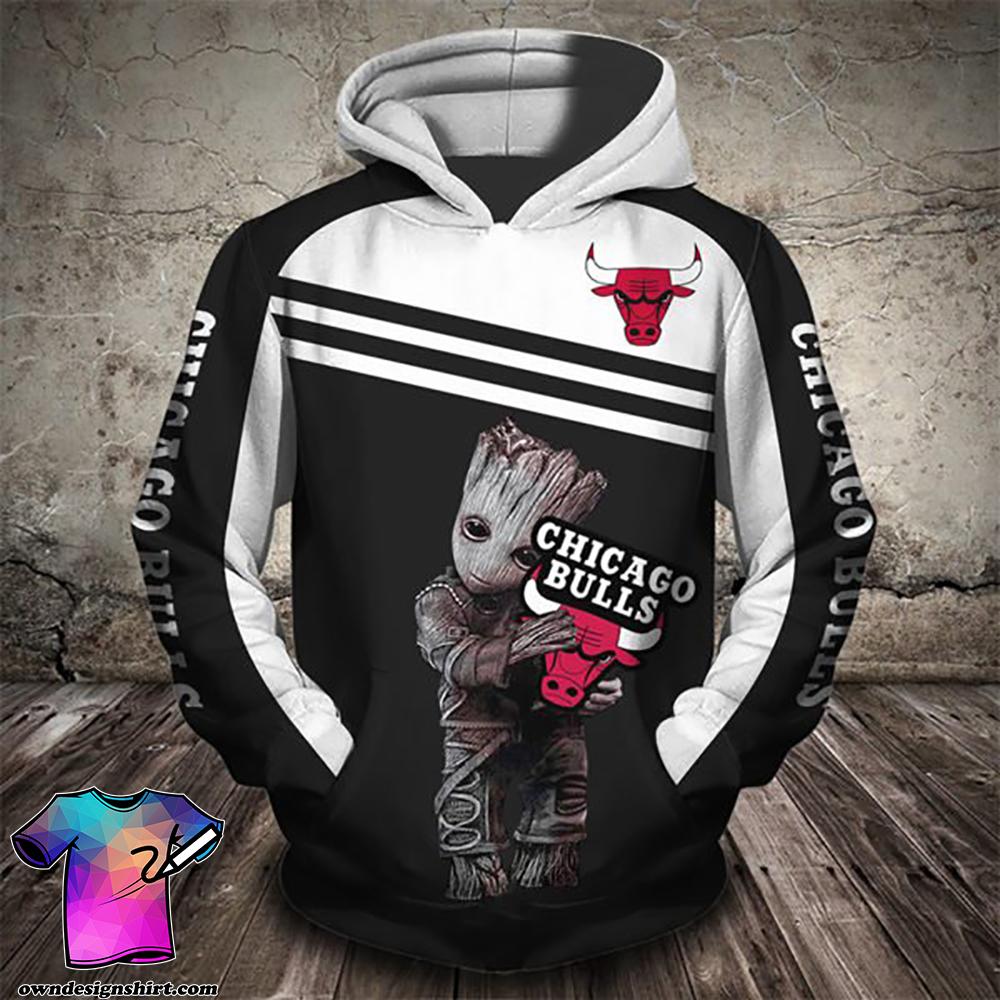 Groot hold chicago bulls full printing shirt