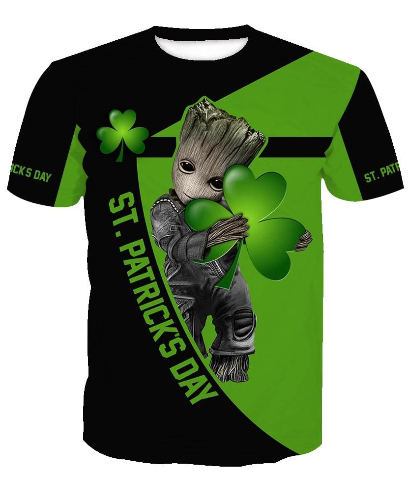 Groot hold clover saint patricks day all over print tshirt
