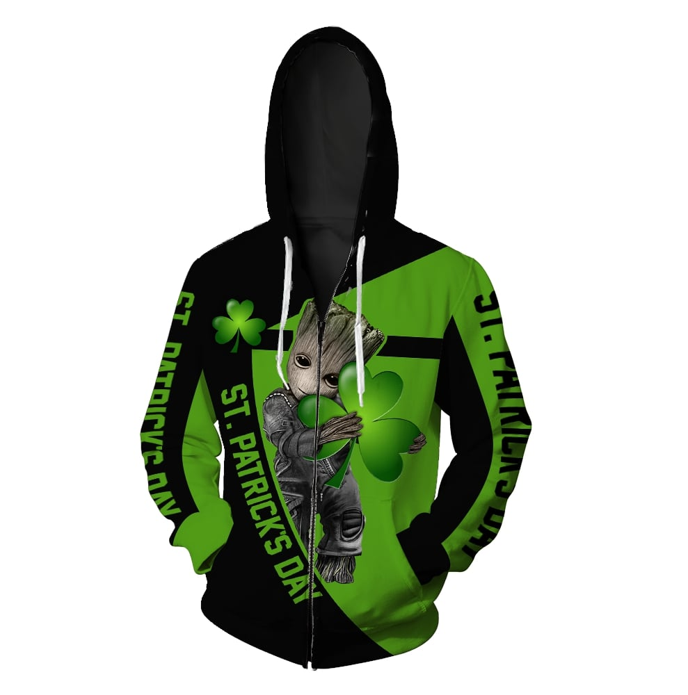 Groot hold clover saint patricks day all over print zip hoodie