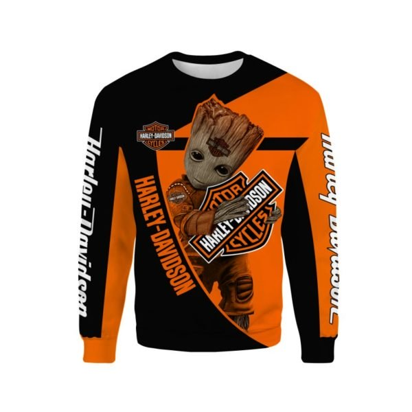 Groot hold harley davidson full printing sweatshirt