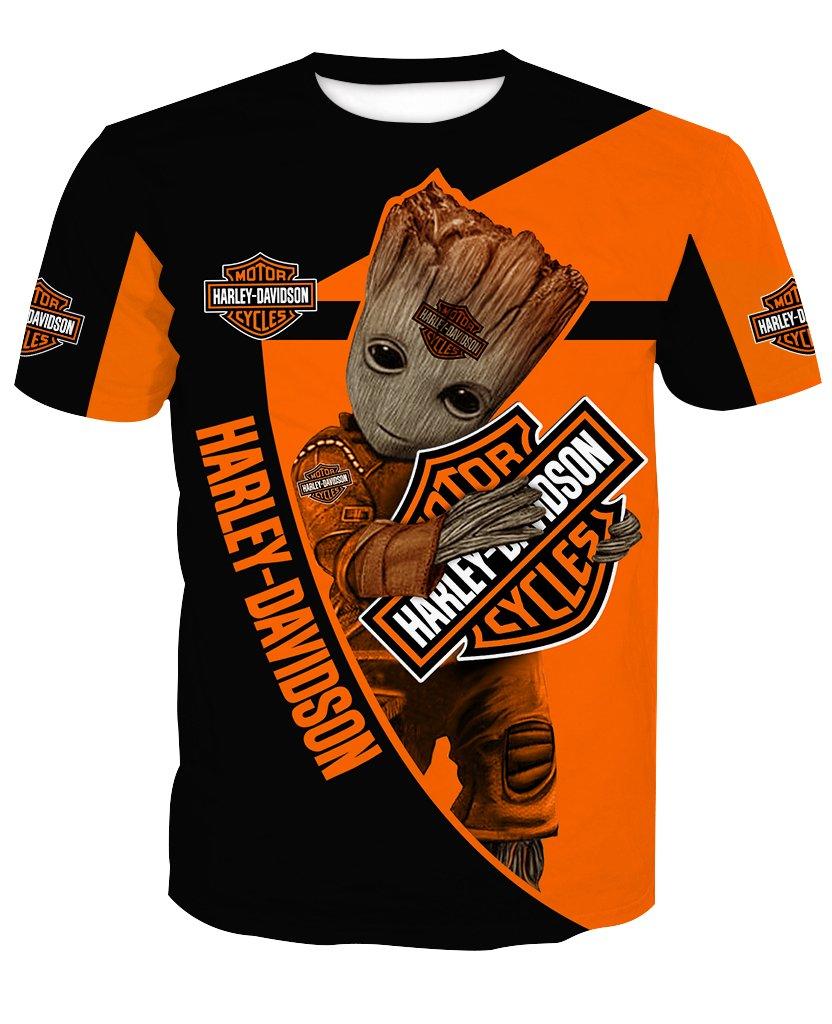 Groot hold harley davidson full printing tshirt