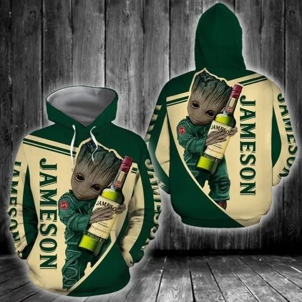 Groot hold jameson full printing hoodie