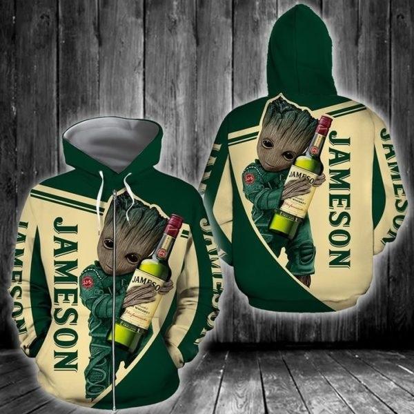 Groot hold jameson full printing zip hoodie