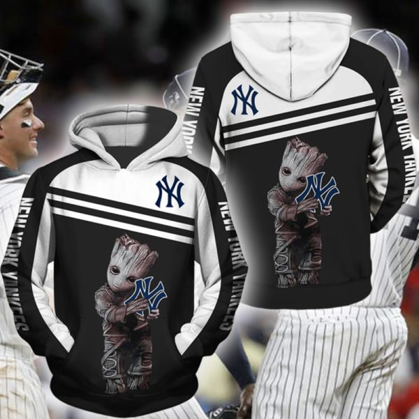 Groot hold new york yankees full printing hoodie 1