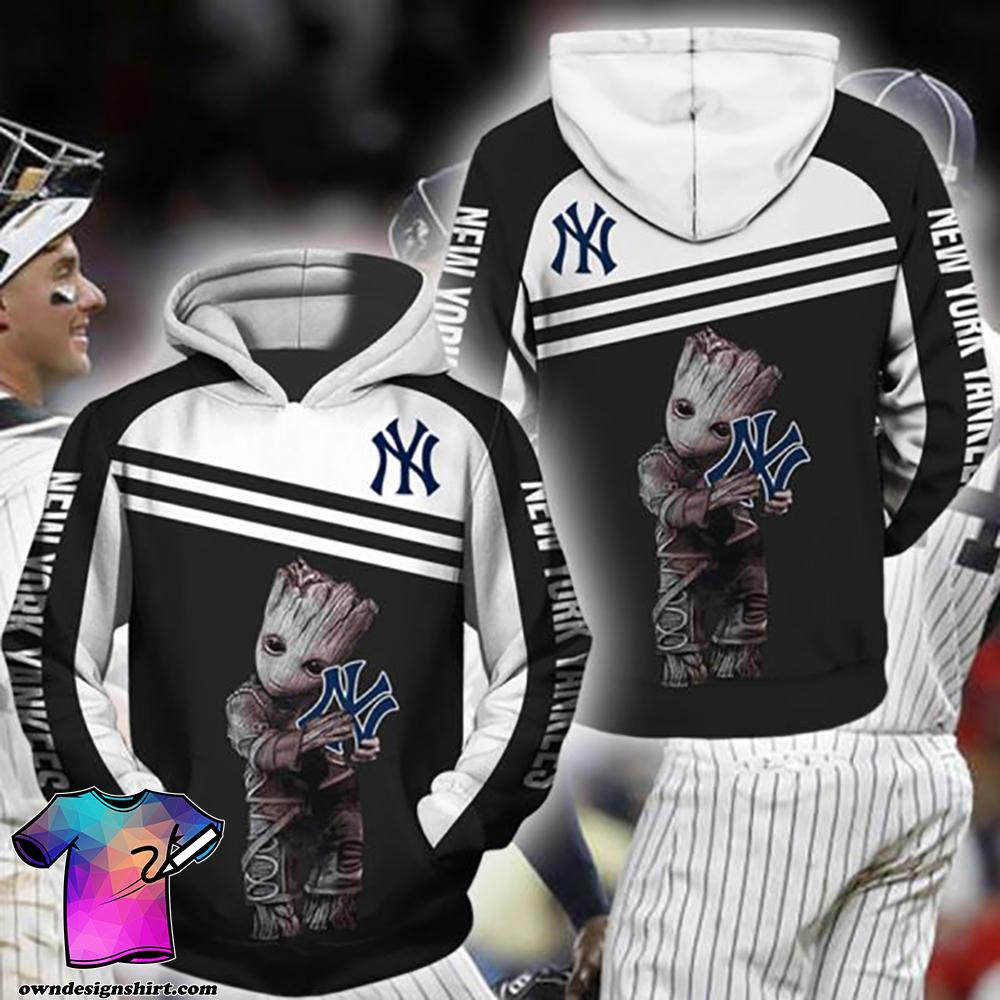 Groot hold new york yankees full printing shirt