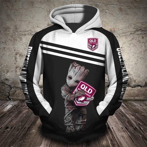 Groot hold queensland rugby league all over printed hoodie