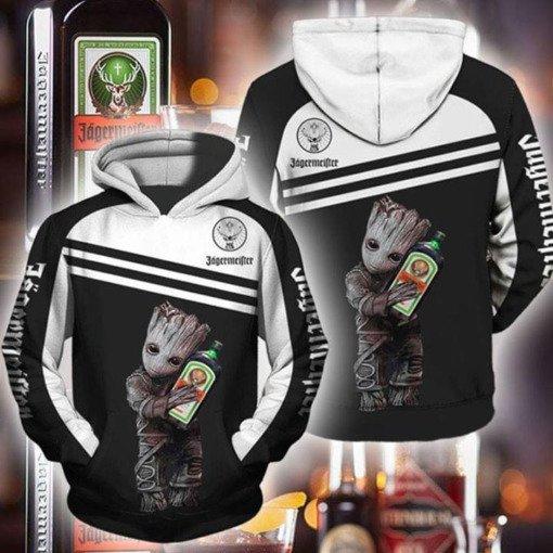 Groot hug jagermeister full printing hoodie