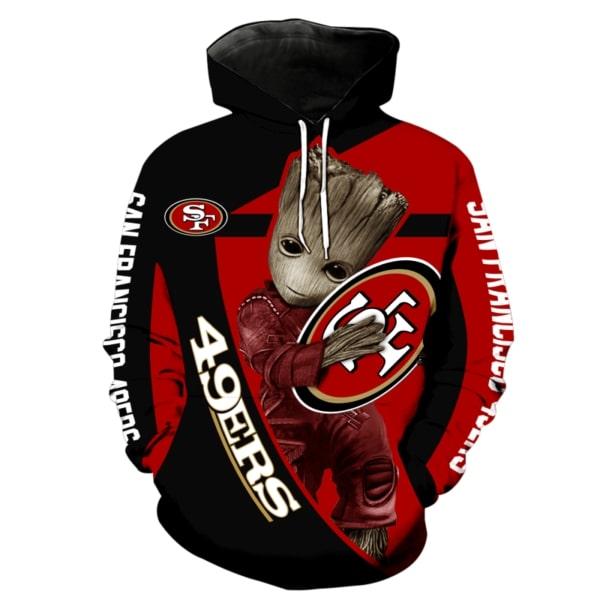 Groot hug san francisco 49ers nfl full printing hoodie
