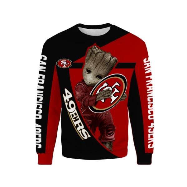 Groot hug san francisco 49ers nfl full printing sweatshirt