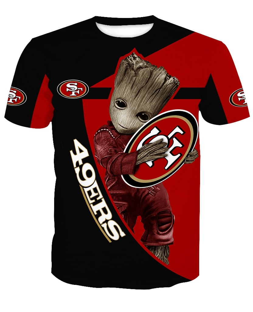 Groot hug san francisco 49ers nfl full printing tshirt