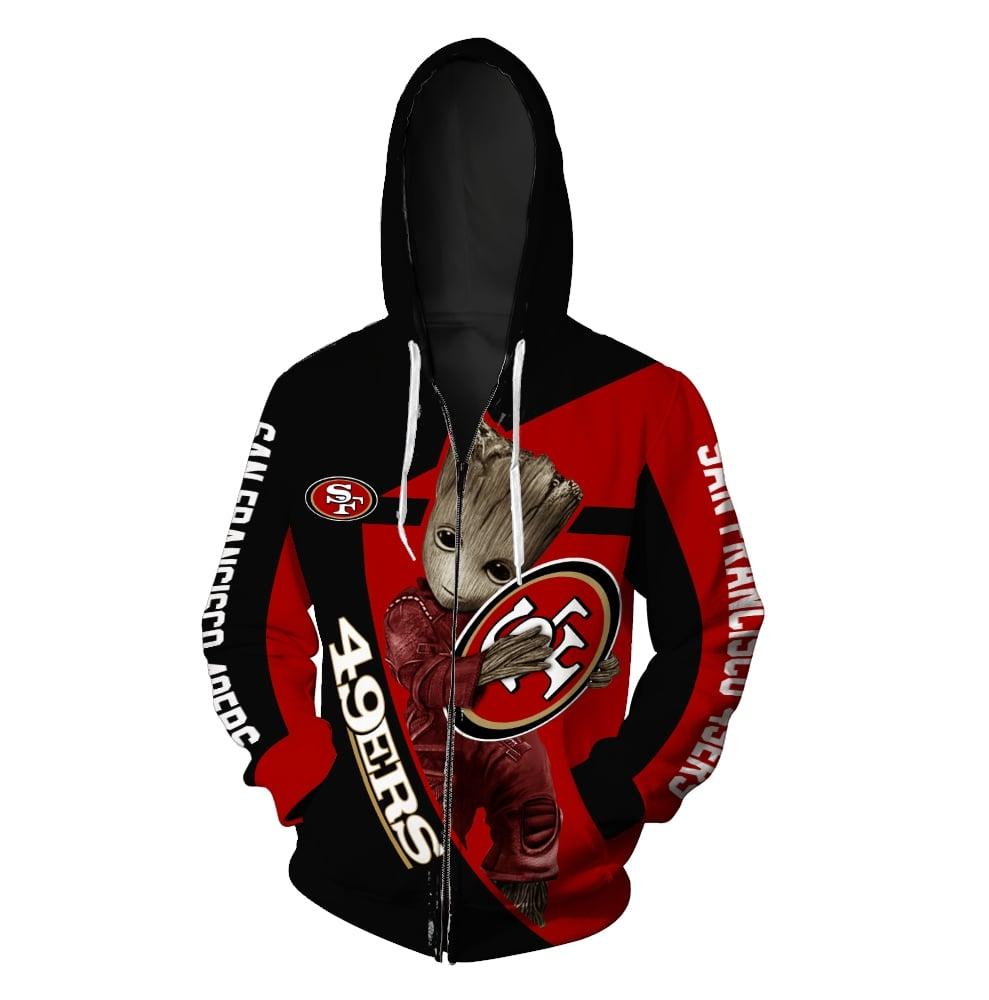 Groot hug san francisco 49ers nfl full printing zip hoodie