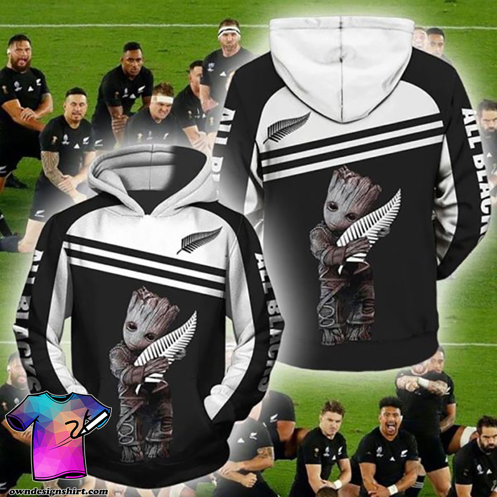 Groot new zealand national rugby union team full printing shirt