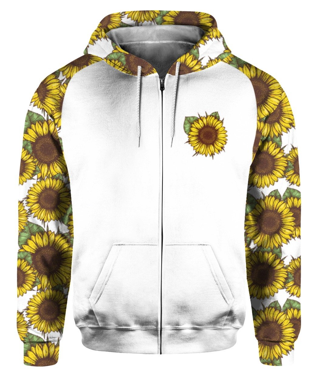 I'm blunt because god rolled me that way sunflower all over print zip hoodie