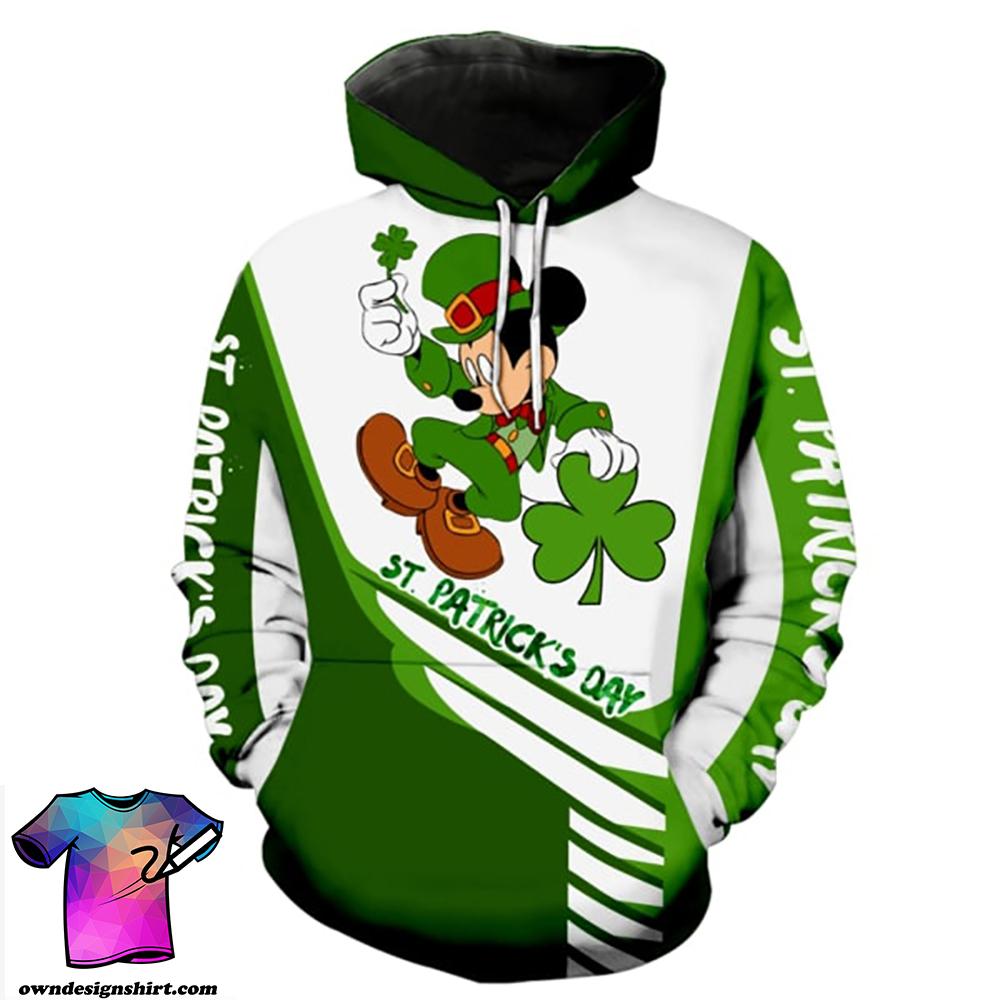 Saint patricks day mickey mouse full printing shirt