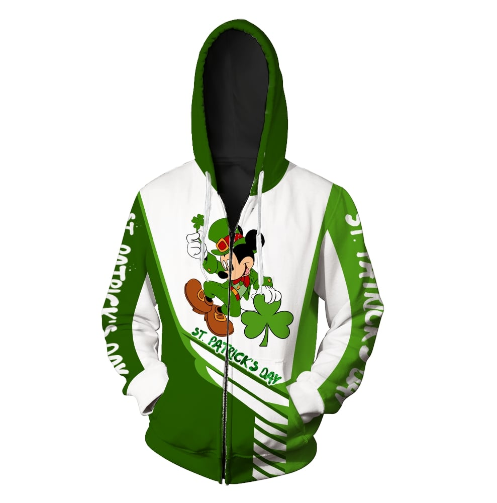 Saint patricks day mickey mouse full printing zip hoodie