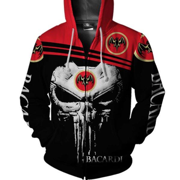 Skull bacardi full printing zip hoodie