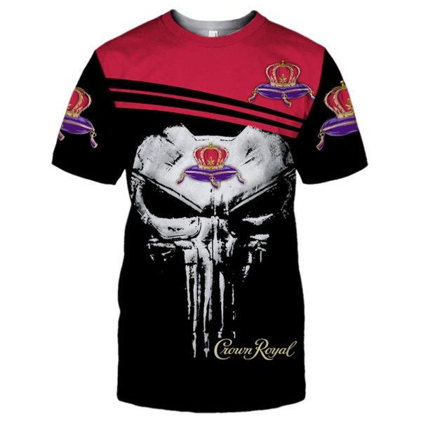 Skull crown royal full printing tshirt