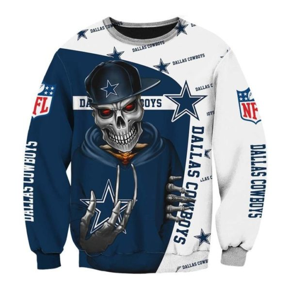 Skull dallas cowboys nfl all over printed sweatshirt