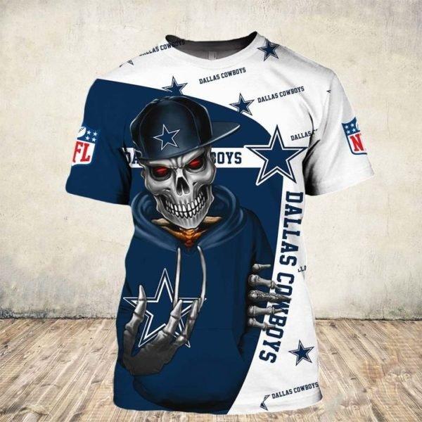 Skull dallas cowboys nfl all over printed tshirt