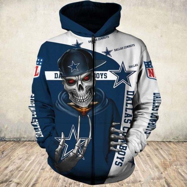 Skull dallas cowboys nfl all over printed zip hoodie