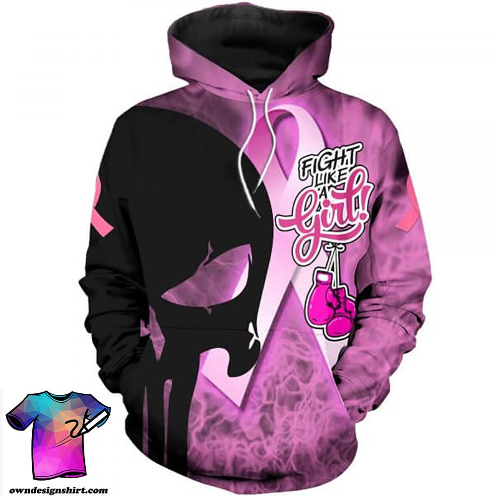 Skull fight like a girl breast cancer awareness full printing shirt