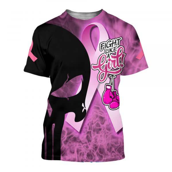 Skull fight like a girl breast cancer awareness full printing tshirt