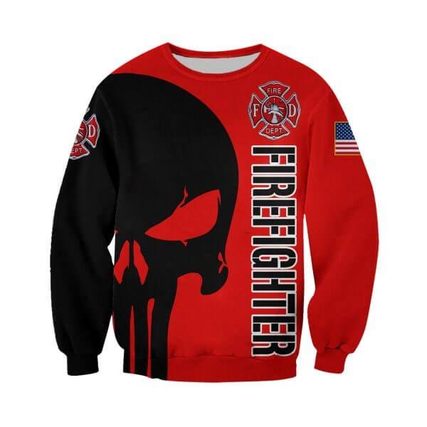 Skull firefighter all over printed sweatshirt