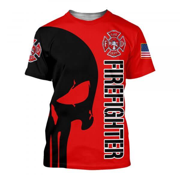 Skull firefighter all over printed tshirt