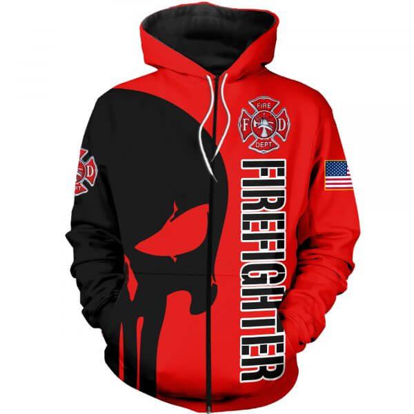Skull firefighter all over printed zip hoodie